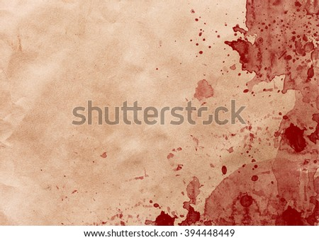 Vintage wrinkled paper with red blood splashes