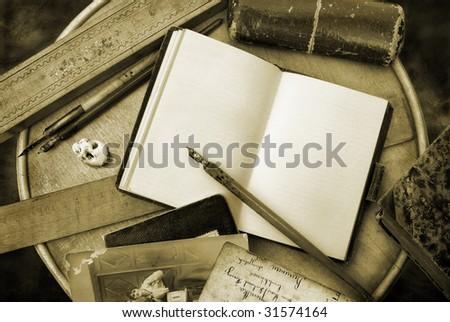 Vintage writing in sepia tone - stock photo