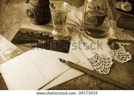 Vintage writing in sepia tone - stock photo