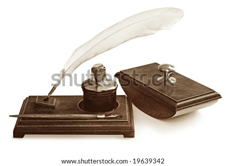 Vintage Writing Set Including Feather Quill Stock Photo ...Writing Quill And Ink Sets