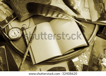 Vintage writing still life in sepia tone - stock photo