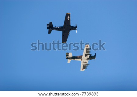 Vintage WWII bombers flying for airshow
