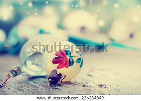 Vintage xmas decoration on blured background - stock photo
