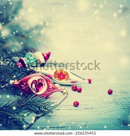 Vintage xmas decoration on blured background - stock photo
