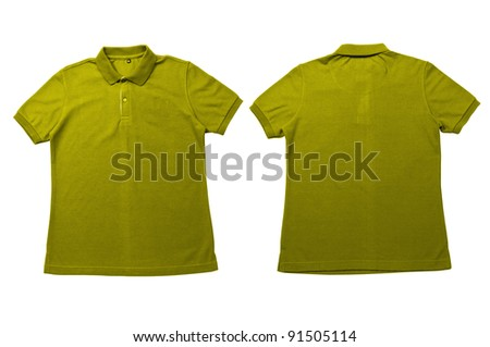 Vintage Yellow color Polo Shirt with white background Men Front and back Polo Shirt - stock photo