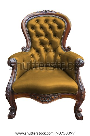 vintage yellow leather armchair on white with clipping path