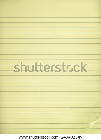 Vintage yellow lined note paper - stock photo