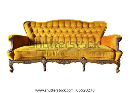 vintage yellow luxury armchair isolated with clipping path