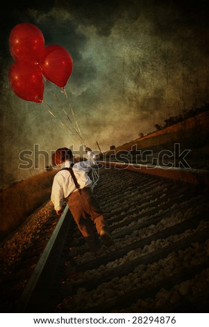 vintage young boy with red ballons - stock photo