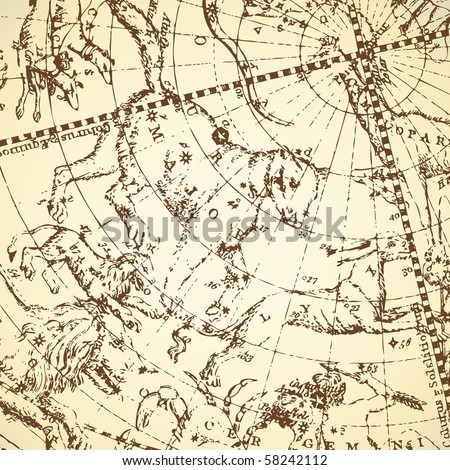 Vintage zodiac constellation of northern stars. - stock photo