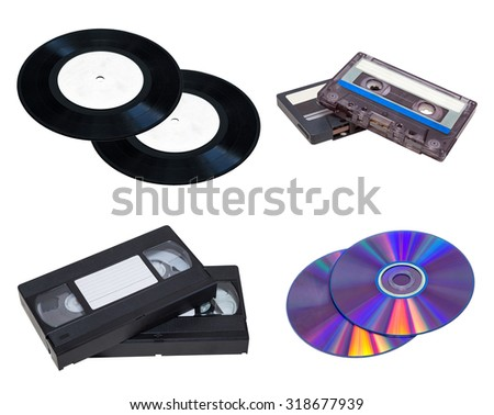 vinyl, audio cassettes, video cassette, CD disk on a white background. isolated, installation - stock photo