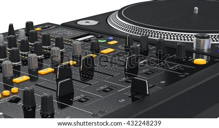 Vinyl black needle dj turntable studio, close view . 3D graphic