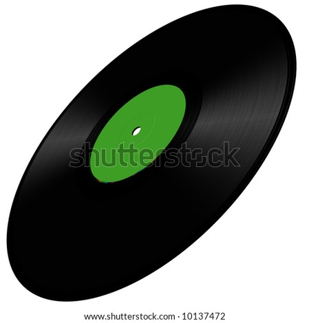 Vinyl disc illustration in perspective, green - stock photo