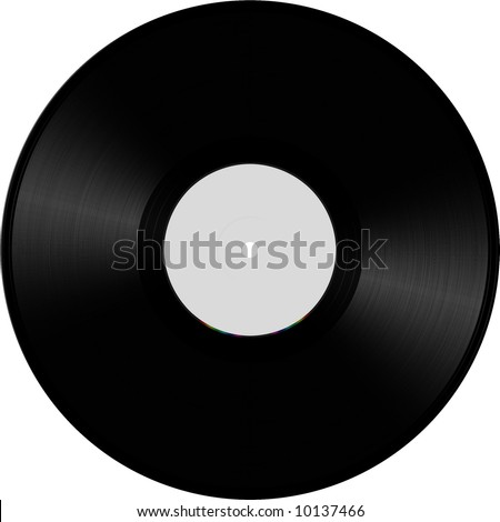 Vinyl disc illustration, white - stock photo