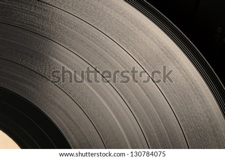 Vinyl disc (sepia). Step between the grooves in vinyl, and its apparent width, is defined by the recorded sound - stock photo