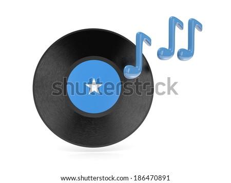 Vinyl disk with flag of somalia isolated on white - stock photo