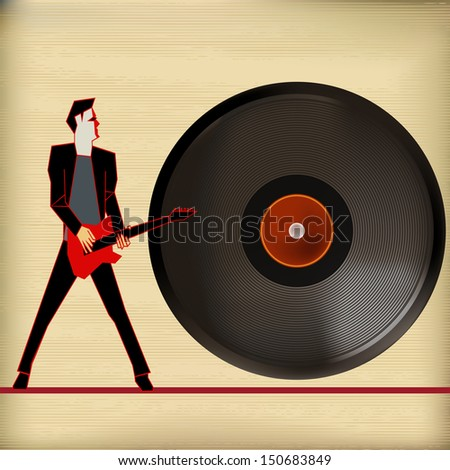 Vinyl Flyer, Background Illustration for Guitar Based Concerts and Music - stock photo