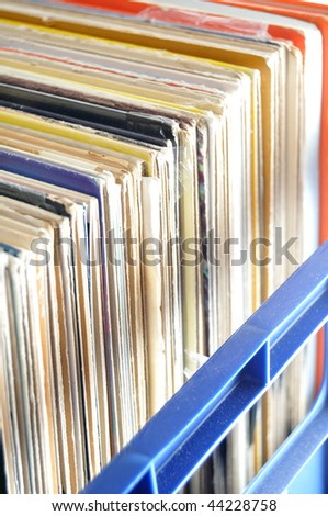 Vinyl LP Record Collection in Crate. This is a popular choice for DJs to store their music - stock photo