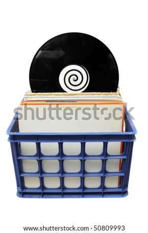 Vinyl LP Record Collection in Crate. This is a popular choice for DJs to store their music