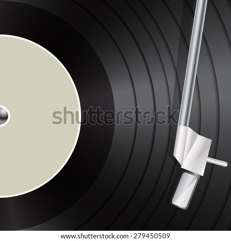 vinyl macro as retro music background - stock photo