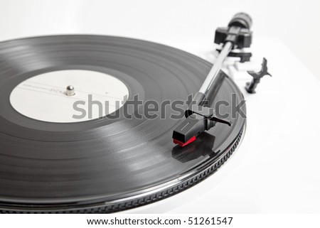 Vinyl Player isolated on white - stock photo