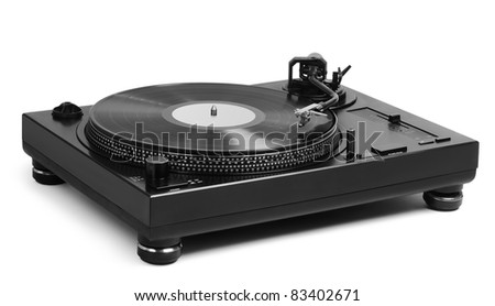 vinyl player on white background - stock photo