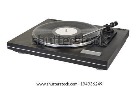 vinyl player on white background, clipping path for the turntable and path for the label on vinyl - stock photo