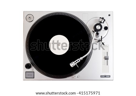 Vinyl player with a vinyl disk on a white background - stock photo