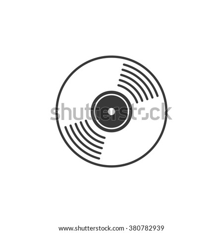 Vinyl record icon, compact CD disk, DVD disc gramophone record symbol, rotating record disc, flat vinyl lp, cartoon vinyl record label, cover emblem modern simple illustration design isolated image - stock photo