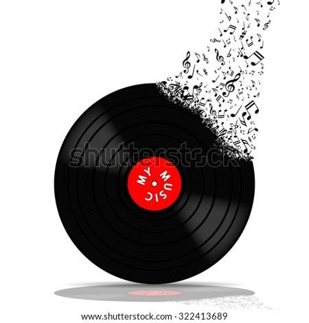 Vinyl record-LP music - stock photo