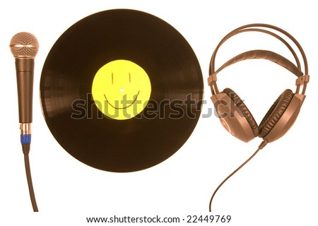 Vinyl record, Microphone, Headphones. isolated on white background \ Vinyl record, Microphone, Headphones - stock photo
