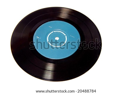 Vinyl record on white