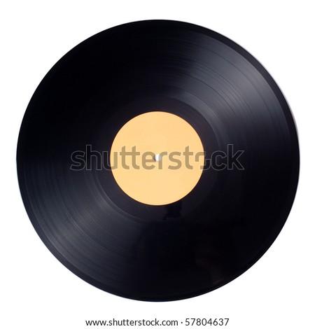 vinyl record on white background - stock photo