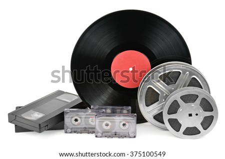 vinyl record, video and audio cassettes isolated on white background - stock photo