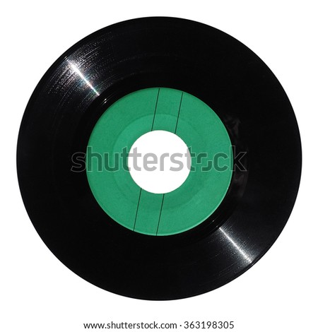 Vinyl record vintage analog music recording medium with green label isolated over white - stock photo