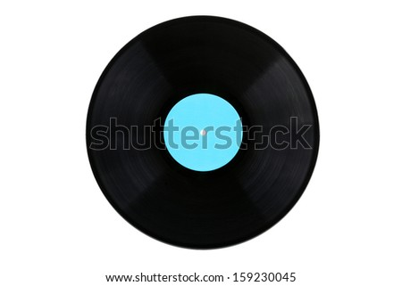 Vinyl record with a blue label - stock photo
