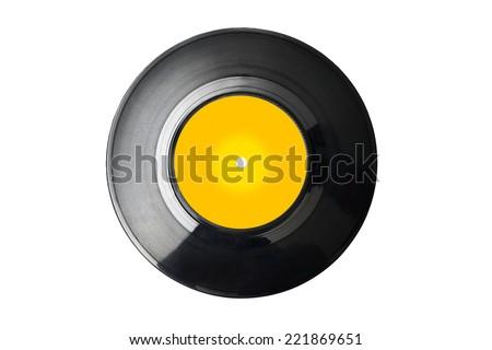 vinyl record with blank label - stock photo