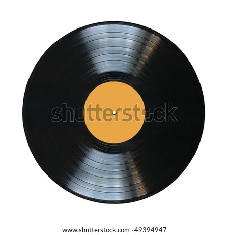 vinyl record with blank label isolated