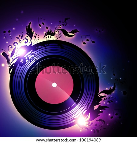 vinyl record with blank red label and floral music decoration over white background - stock photo