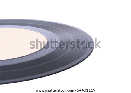 Vinyl record with white label. Isolated over white