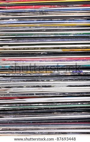 Vinyl records background - stock photo