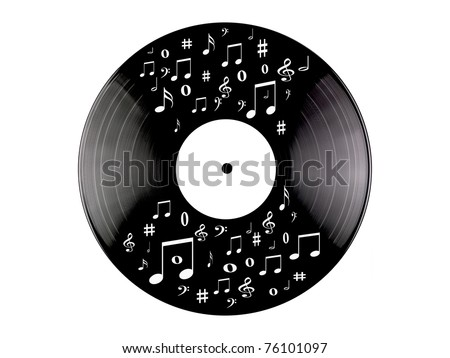 Vinyl records isolated against a white background - stock photo