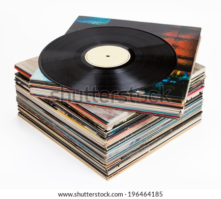 Vinyl records, isolated on white - stock photo