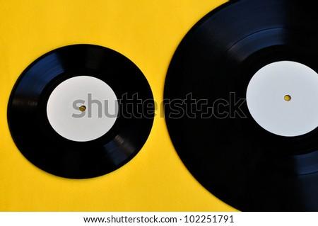 Vinyl records lp album and single. Music and audio. - stock photo