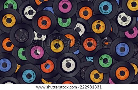 Vinyl records music background - stock photo