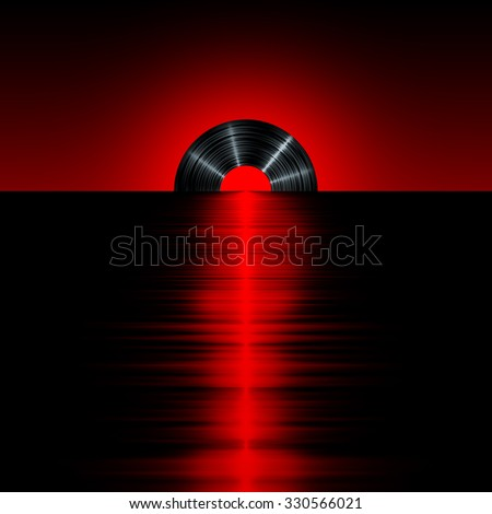 Vinyl sunset red / 3D render of vinyl record as setting sun on horizon