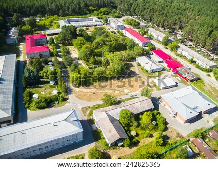 Vinzili, Russia - July 16, 2014: Tyumen regional clinical psychiatric hospital. Aerial view