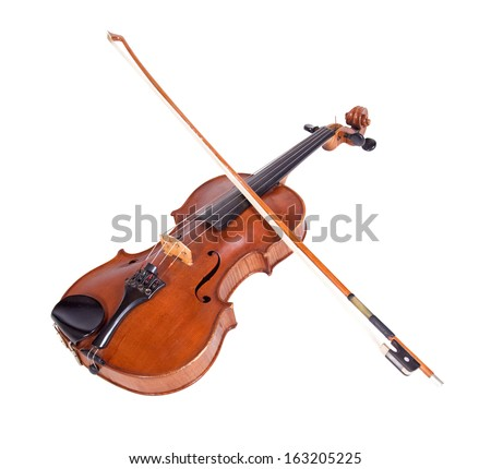 viola on a white background. Musical instrument with a bow on a white background. Old fiddle with a bow.. - stock photo