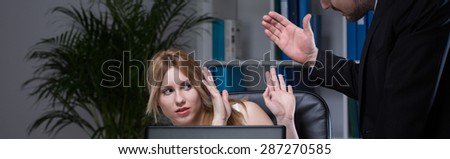 Violence and bullying in the workplace - panorama - stock photo