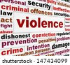 Violence criminal issue concept. Aggressive behavior word clouds background - stock vector